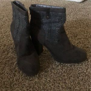 Gray heeled ankle boots. Juicy for Kohl's.